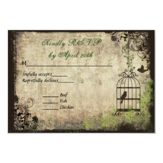Vintage Bird Cage Wedding R.S.V.P. Card 9 Cm X 13 Cm Invitation Card