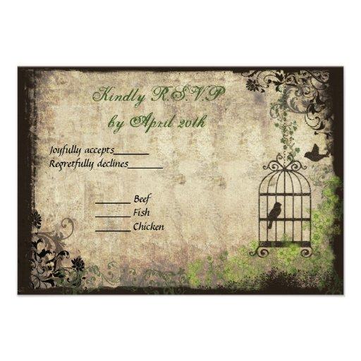 Vintage Bird Cage Wedding R.S.V.P. Card Custom Announcements