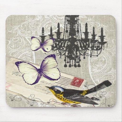vintage Bird chandelier chic Paris Mousepads