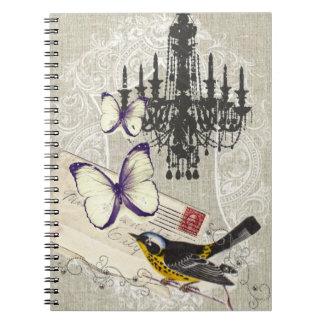 vintage Bird chandelier chic Paris Notebook