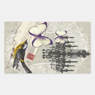 vintage Bird chandelier chic Paris Rectangular Sticker