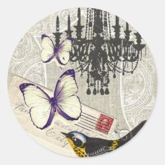 vintage Bird chandelier chic Paris Round Sticker