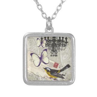 vintage Bird  chandelier chic  Paris Square Pendant Necklace