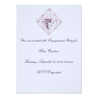 Vintage Bird Design Engagement Party Invitation