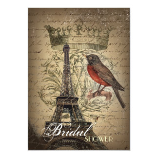 Vintage Bird Eiffel Tower Paris bridal shower Card