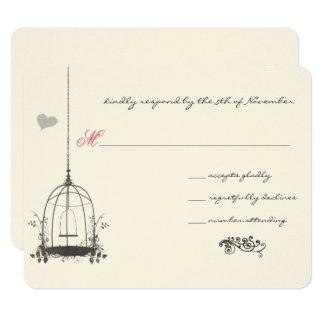 Vintage Bird Gray Cage Pink Accents Wedding Invite