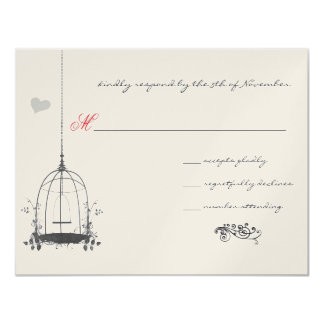 Vintage Bird Gray Cage Red Accents Wedding Invite
