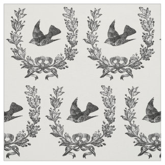 vintage bird in a wreath design typography fabric