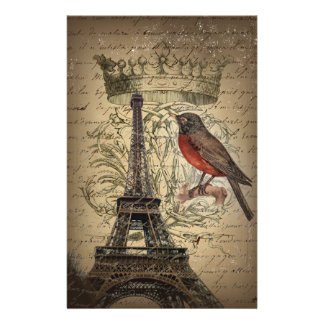 Vintage Bird Paris Eiffel Tower Wedding Stationery