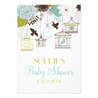 Vintage Birdcages Floral Baby Shower Invitations