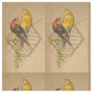 Vintage Birds and Antique Photoback Digital Art Fabric