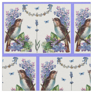 vintage birds and blue flowers fabric