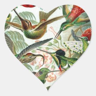Vintage Birds Heart Sticker