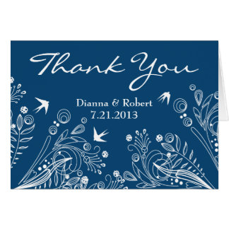 Vintage Birds Light  Blue Thank You Wedding Card