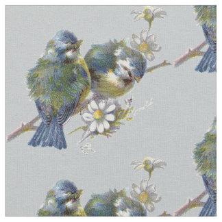 Vintage Birds on Gray Background Fabric