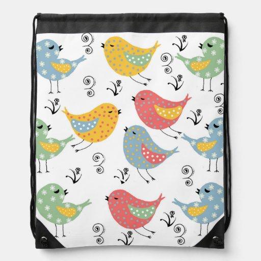 vintage birds cinch bag