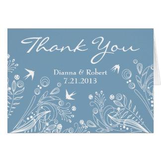 Vintage Birds Powder Blue Thank You Wedding Card