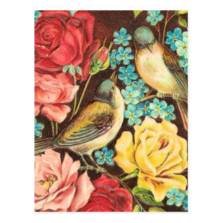 Vintage Birds With Pink and Yellow Roses Postcard