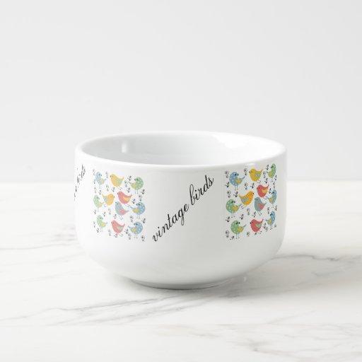 vintage birds soup mug
