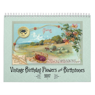 Vintage Birthday Flowers and Birthstones Wall Calendar