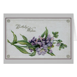 Vintage birthday wishes lilac flowers cards