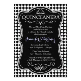 Vintage Black and White Checkered Invitation