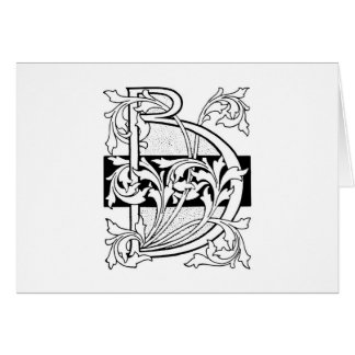 Vintage Black Art Deco Monogram B Floral Card