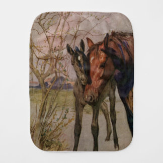 "Vintage Black Beauty horse ""My Mother and I"" Burp Cloth"