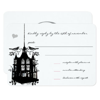 Vintage Black Bird Cage Pink Accent Wedding RSVP 9 Cm X 13 Cm Invitation Card