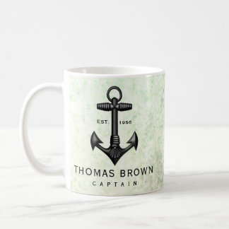 Vintage Black Cast Iron Anchor Nautical Boating Coffee Mug