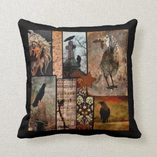 Vintage Black Crow Flower Collage Cushion