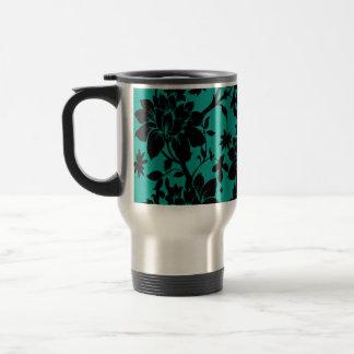 Vintage black floral design on Peacock green 15 Oz Stainless Steel Travel Mug