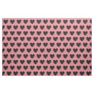 Vintage black heart pattern print textile fabric