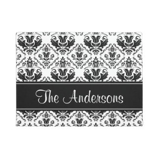 Vintage Black White Custom Family Welcome Message Doormat