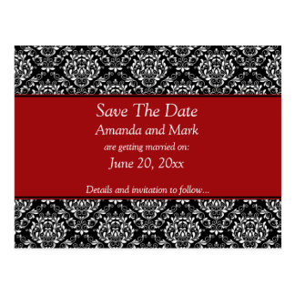 Vintage Black White Red Damask Save The Date Postcards