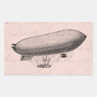 Vintage Blimp Old Zeppelin Retro Hot Air Balloon Rectangular Sticker