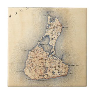 Vintage Block Island RI Map (1899) Tile