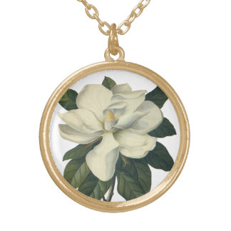 Vintage Blooming White Magnolia Blossom Flowers Round Pendant Necklace