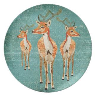 Vintage Blue Amber Bucks Plate