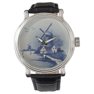 Vintage Blue and White Delft Watch