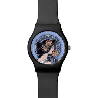 Vintage blue art nouveau watch