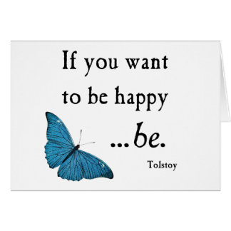 Vintage Blue Butterfly and Tolstoy Happiness Quote Note Card