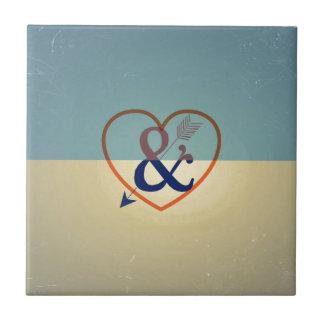 Vintage Blue Cream Design. Love & Heart Pattern Tiles