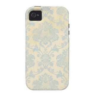 Vintage Blue Damask Vibe iPhone 4 Cases