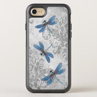 Vintage Blue Dragonflies on Grey Grunge Damask OtterBox Symmetry iPhone 8/7 Case