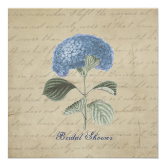 Vintage Blue Hydrangea Bridal Shower 13 Cm X 13 Cm Square Invitation Card