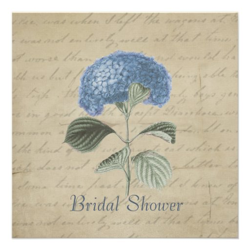Vintage Blue Hydrangea Bridal Shower Custom Invite