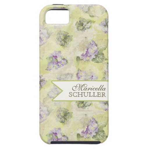 Vintage Blue Hydrangea French Wallpaper Floral Art iPhone 5 Cases