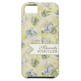 Vintage Blue Hydrangea French Wallpaper Floral Art iPhone 5 Case