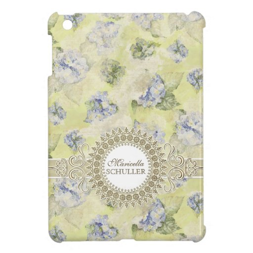 Vintage Blue Hydrangea French Wallpaper Floral Art iPad Mini Case